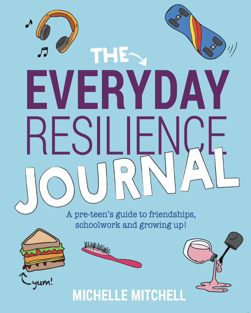 This image is the book cover for The Everyday Resilience Journal. It is light blue with hand-drawn colourful illustrations scattered around the book title text. The illustrations include headphones, a skateboard, nail polish, a hair brush, and a sandwich.
